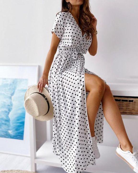 Polka Dot Print Self-Tie Split Overlap Maxi Dress gallery 1