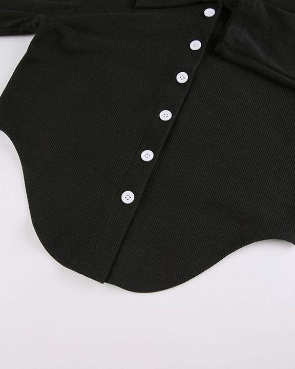 Button Decor Asymmetrical Hem Bodycon Crop Sweater gallery 9