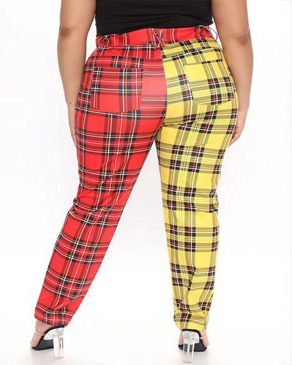 Two Tone Plaid Print High Waist Pants gallery 7