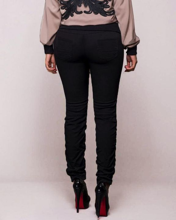 Ripped Zipper Front Stitch Trim Pants gallery 4