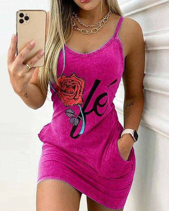 Floral Print Slant Pocket Cami Mini Dress gallery 5