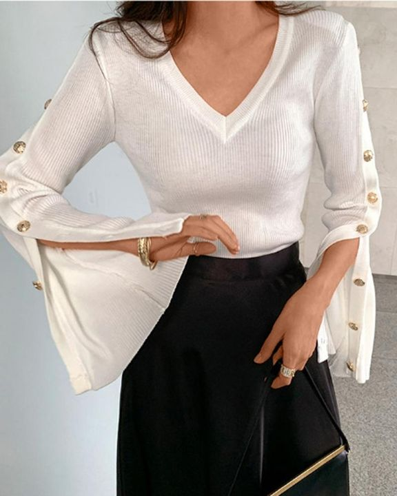 Button Trim Rib Knit Bodycon Sweater gallery 8