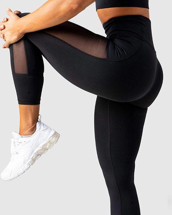 Contrast Mesh Pocket Side Stitch Trim Wide Waistband Sports Leggings gallery 1