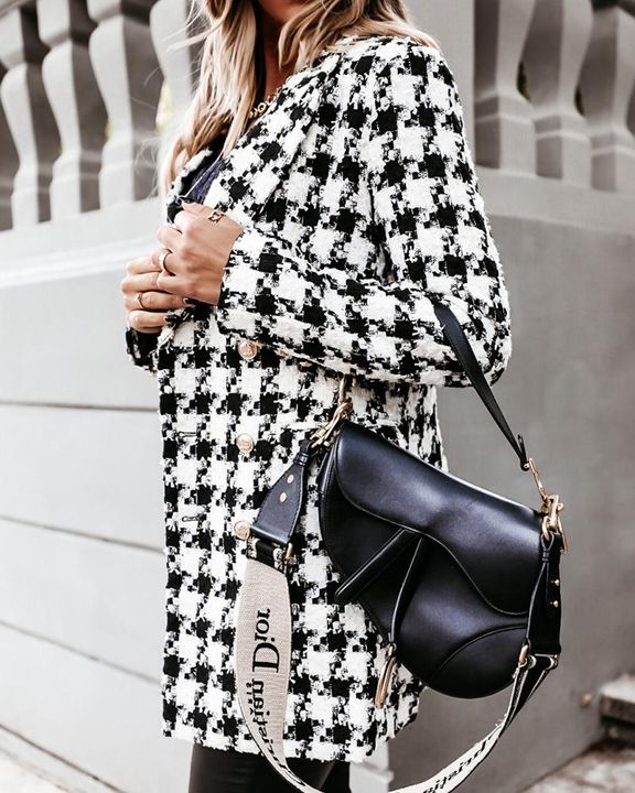 Houndstooth Double Breasted Lapel Neck Coat gallery 12