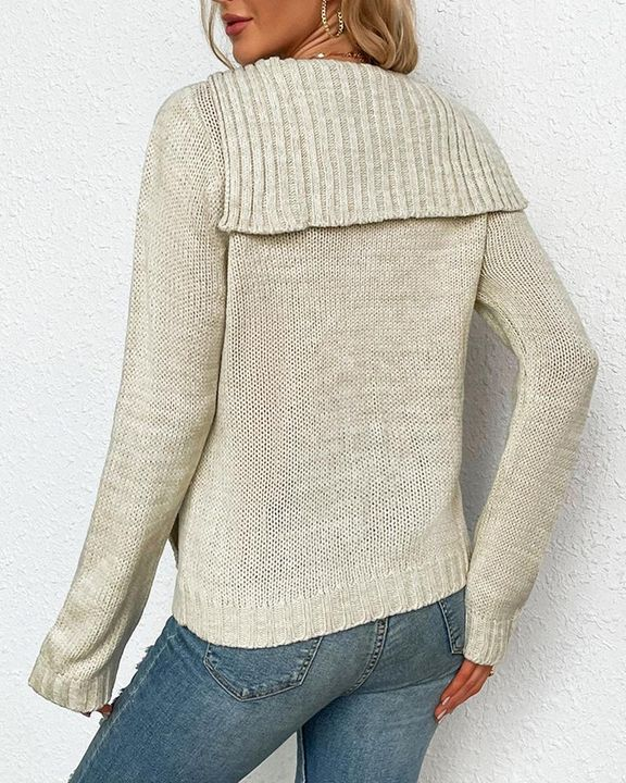 Cable Knit Long Sleeve V Neck Sweater gallery 4