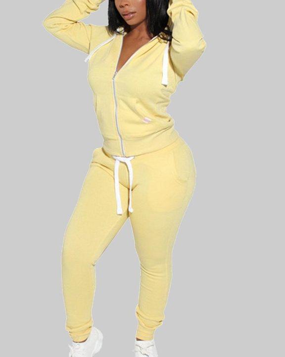 Solid Drawstring Pocket Detail Hooded Top & Pants Set gallery 2