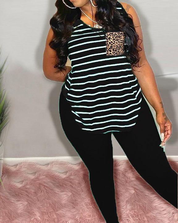 Striped & Leopard Print Curved Hem Top & Pants Set gallery 3