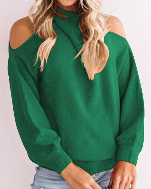Solid Cold Shoulder Rib Knit Sweater gallery 8