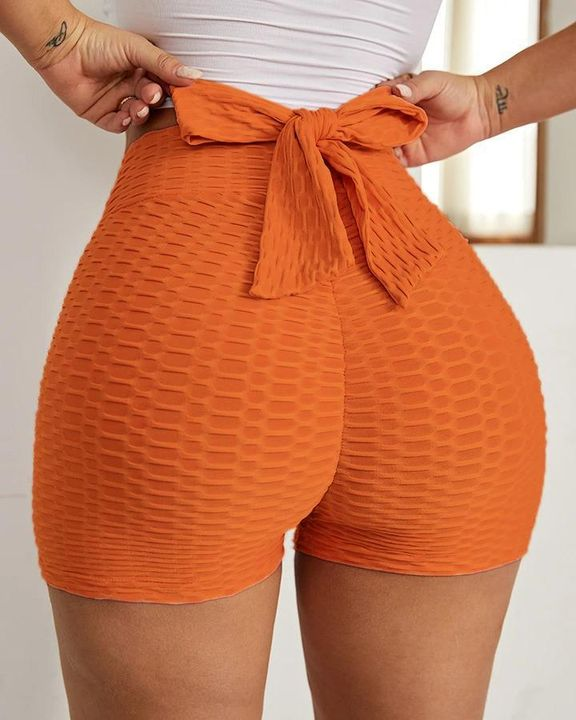Textured Bow Tie Butt Lifting Sports Shorts gallery 2