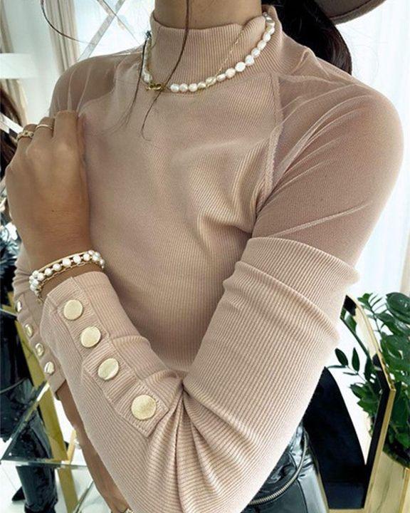 Mock Neck Mesh Insert Button Trim Sweater gallery 6