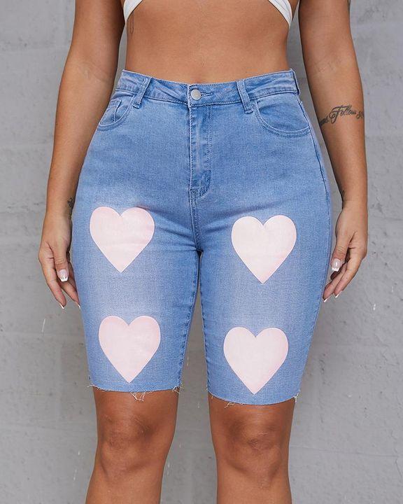 Heart Pattern Bermuda Denim Shorts gallery 4