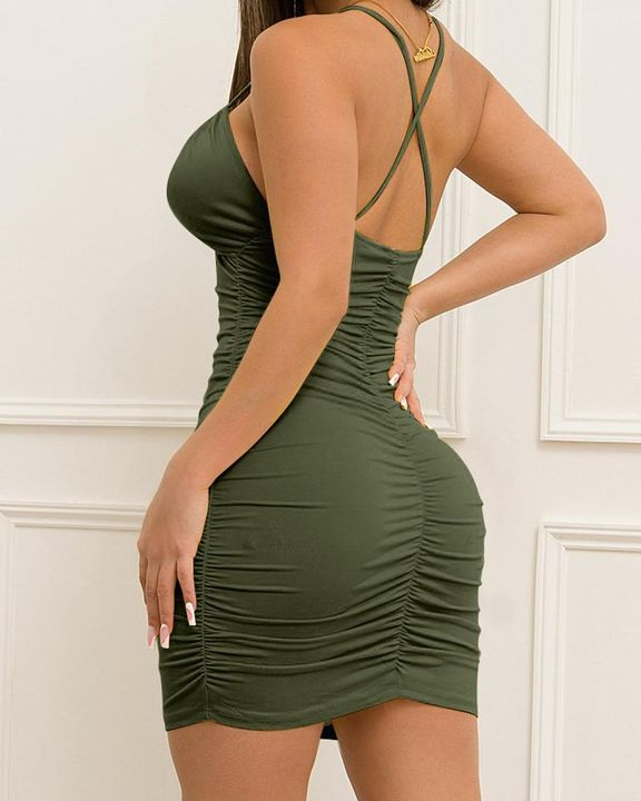 Solid Ruched Drawstring Front Cut Out Mini Dress gallery 10