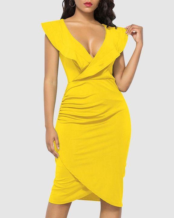 Solid Ruffle Trim Ruched Wrap Asymmetrical Hem Knee Length Dress gallery 1