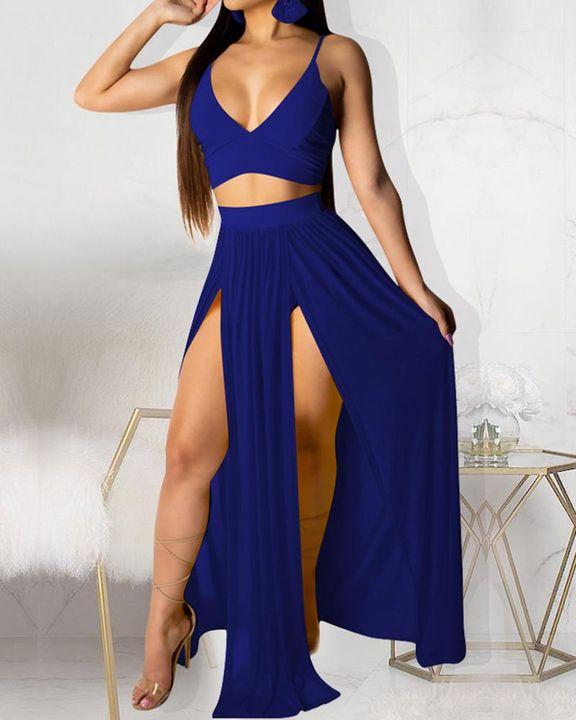Solid Split Thigh Sheer Top & Skirt Set gallery 3