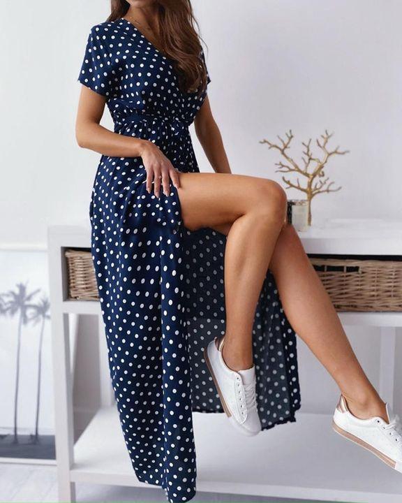 Polka Dot Print Self-Tie Split Overlap Maxi Dress gallery 4