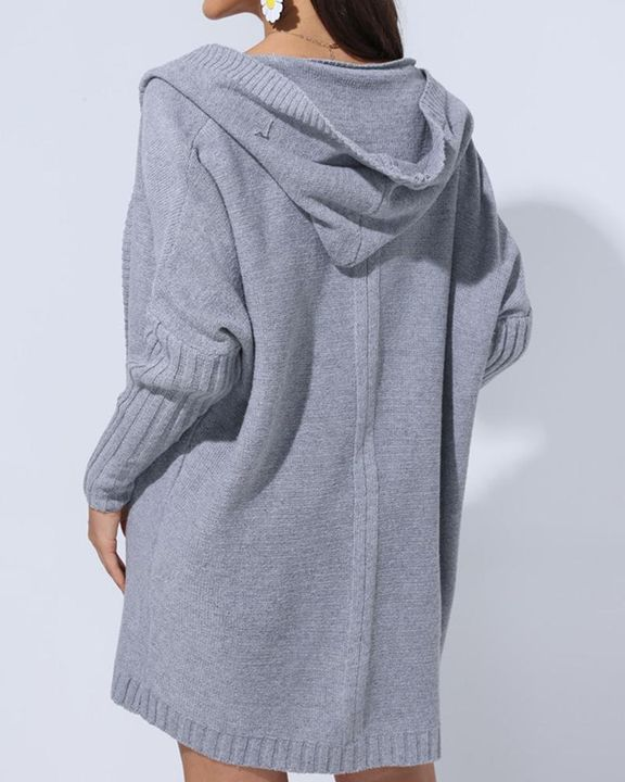 Solid Open Front Hooded Cardigan gallery 6