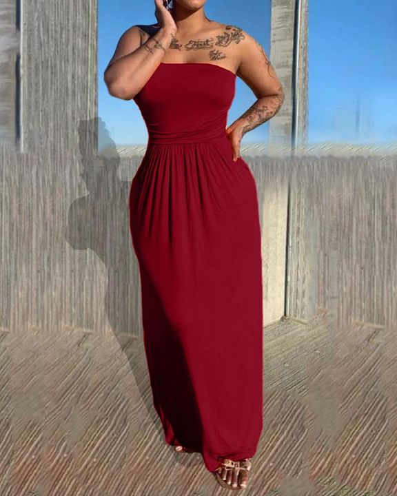 Solid Strapless Maxi Dress gallery 3