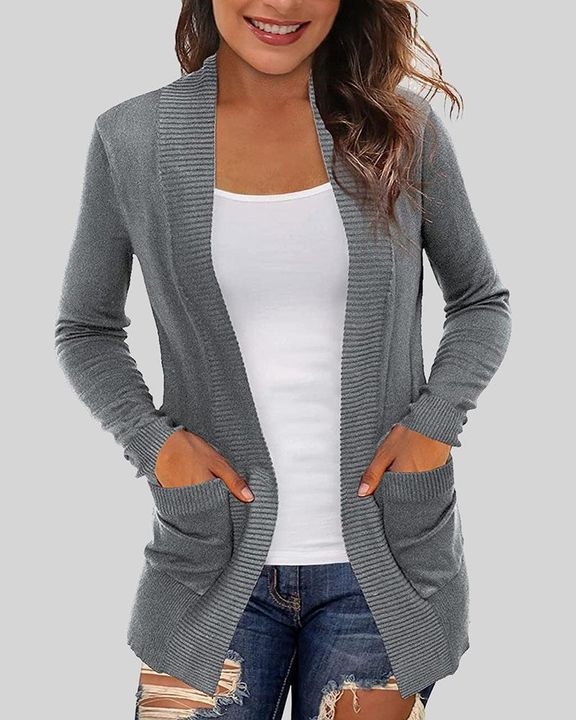 Solid Ribbed Pocket Detail Open Front Cardigan gallery 5