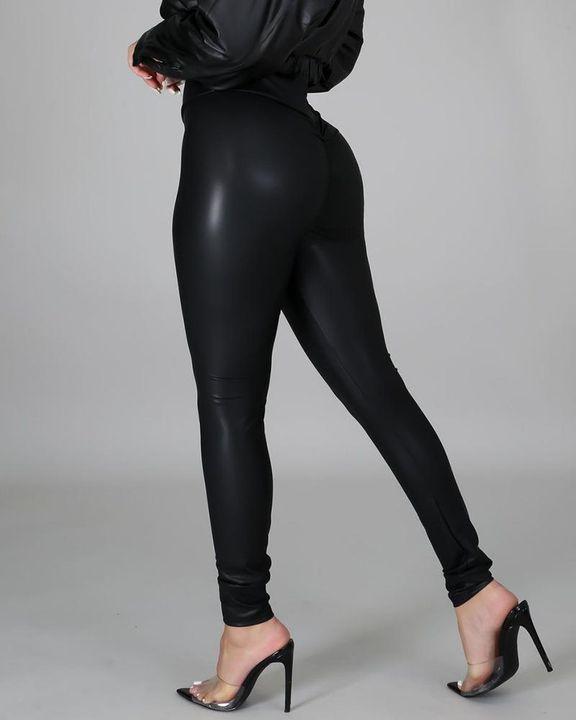 High Waist PU Skinny Pants gallery 10