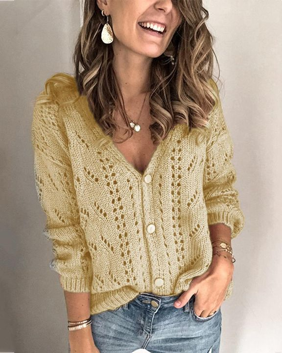 Pointelle Knit Button Up Drop Shoulder Sweater gallery 5