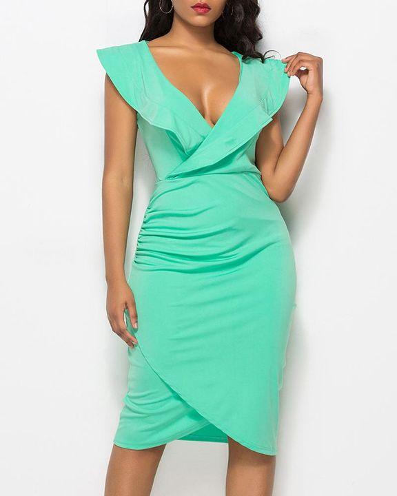 Solid Ruffle Trim Ruched Wrap Asymmetrical Hem Knee Length Dress gallery 5