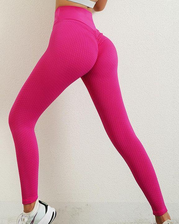 Solid Textured Wide Waistband Scrunch Butt Sports Leggings gallery 5