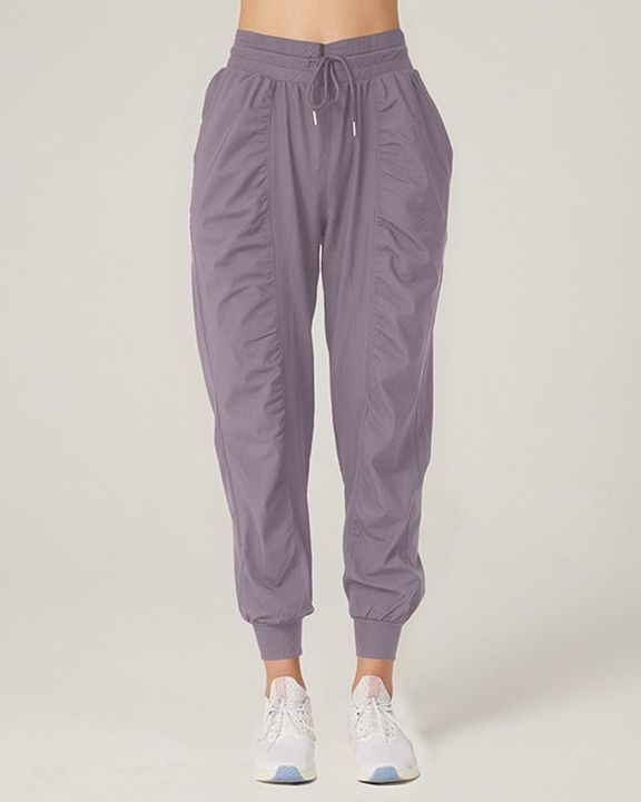 Quick Dry Drawstring Waist Ruched Front Sports Pants gallery 13