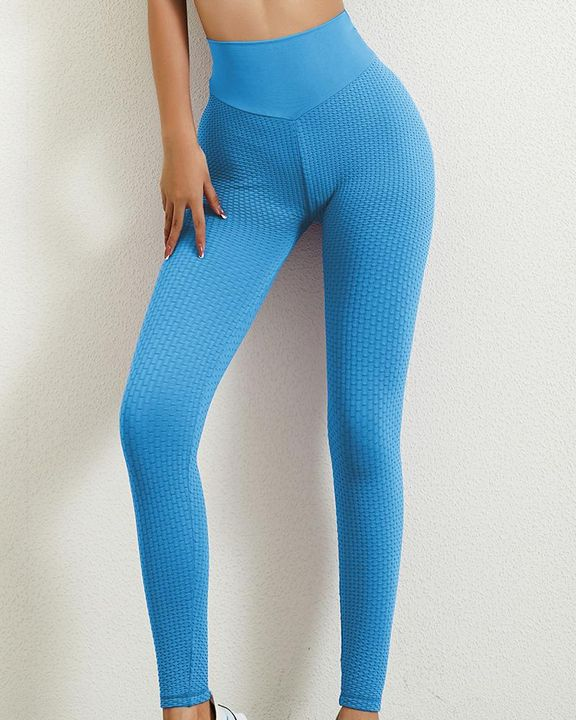 Solid Textured Butt Lifting Leggings gallery 5