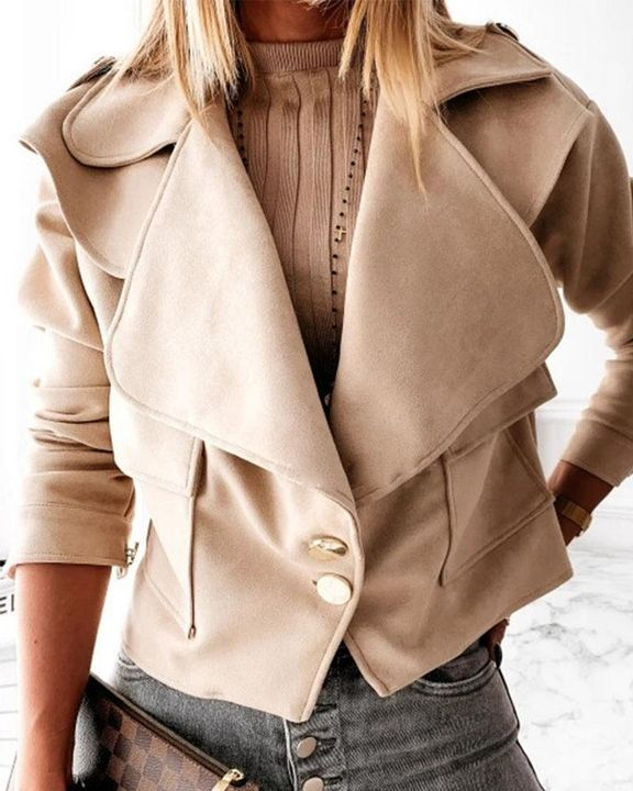 Suede Button Front Flap Pocket Moto Jacket gallery 7