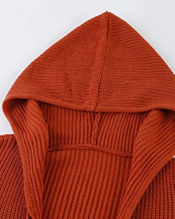 Chunky Knit Zip Front Drawstring Hooded Cardigan gallery 6