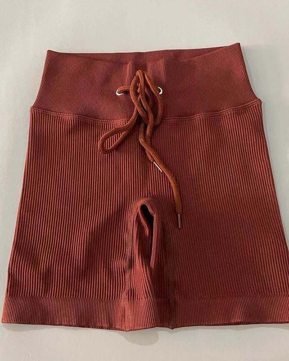Solid High Waist Drawstring Front Sports Shorts gallery 3
