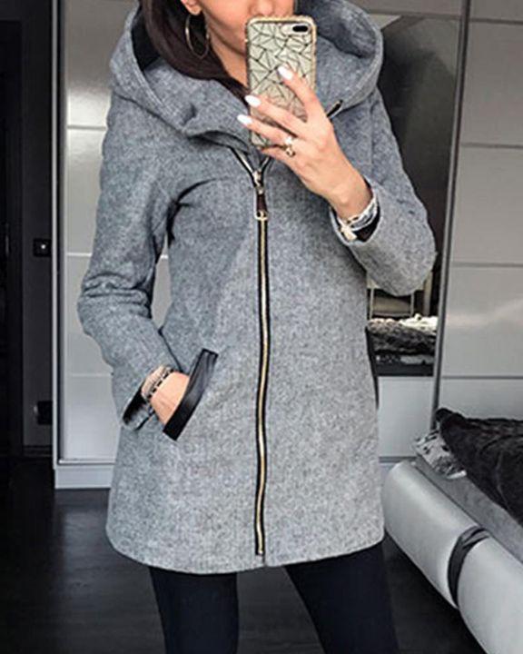 Zip Up Front Pocket Detail Hooded Coat gallery 3