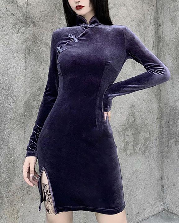 Velvet Split Hem Long Sleeve Qipao Style Dress gallery 4