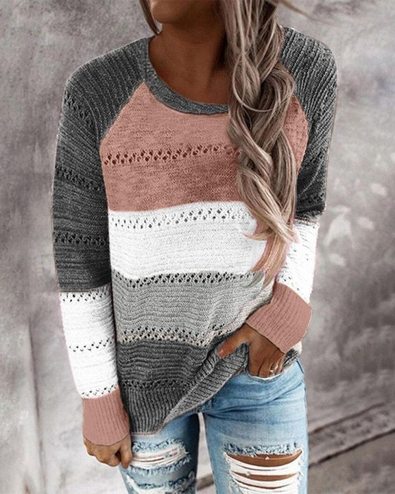 Colorblock Rib-Knit Hollow Out Round Neck Sweater gallery 5