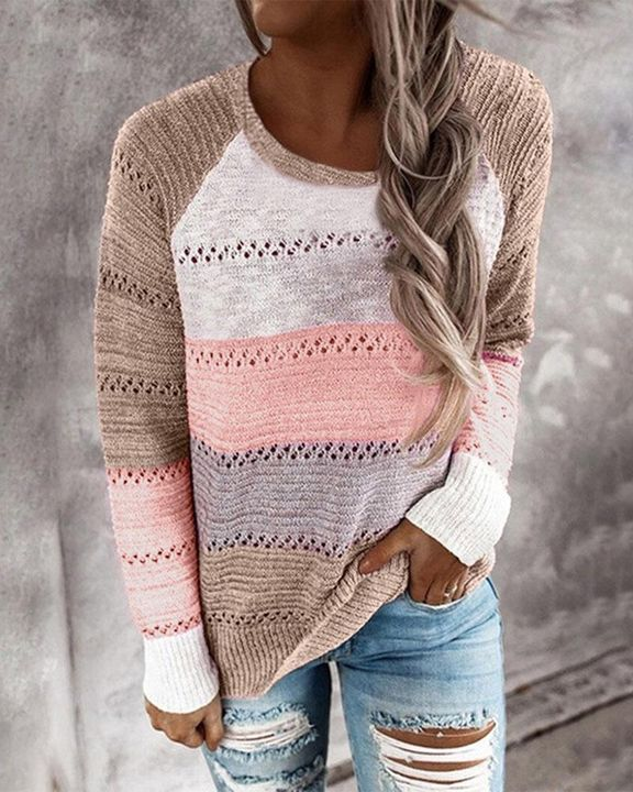 Colorblock Rib-Knit Hollow Out Round Neck Sweater gallery 3