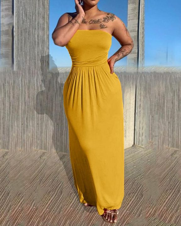 Solid Strapless Maxi Dress gallery 1