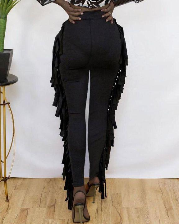 Solid Fringe Trim Side Skinny Pants gallery 4