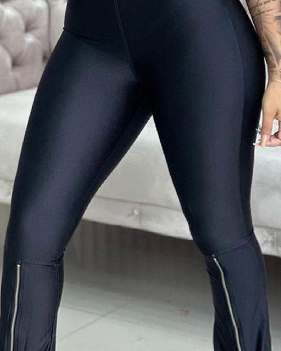 Zipper Design High Waist Flare Pants gallery 3