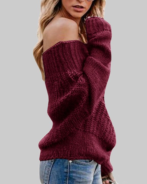 Chunky Knit Off Shoulder Sweater gallery 6