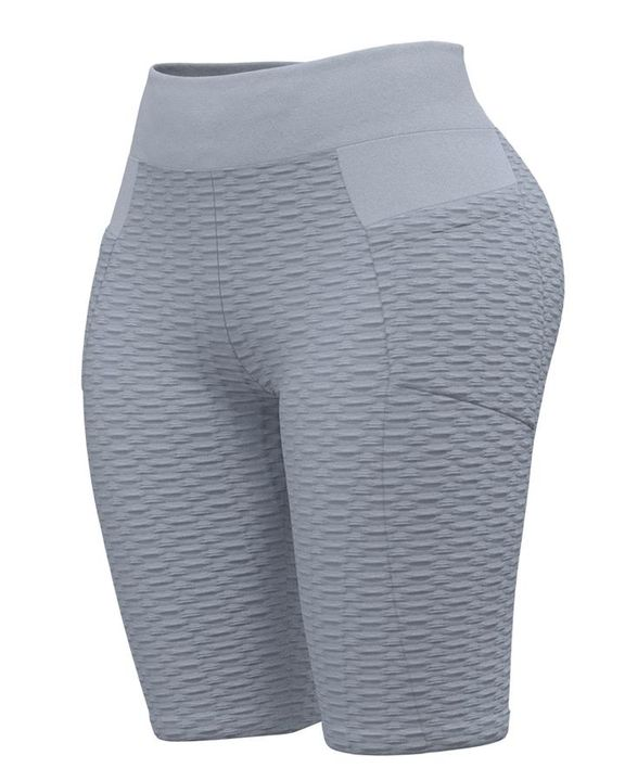 Textured Ruched Back Pocket Detail Sports Shorts gallery 4