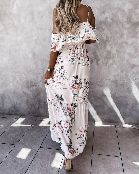 Floral Print Ruffle Trim Backless Cold Shoulder Maxi Dress gallery 5