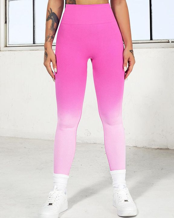 Ombre Wide Waistband Butt Lifting Sports Leggings gallery 12