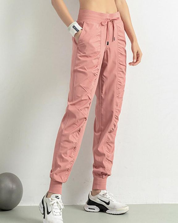Quick Dry Drawstring Waist Ruched Front Sports Pants gallery 2