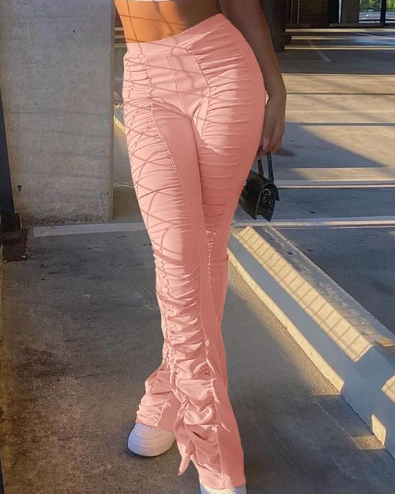 Solid Ruched Flare Leg Stacked Pants gallery 4