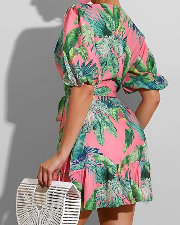 Tropical Print Ruffle Hem Belted Surplice Neck Mini Dress gallery 2