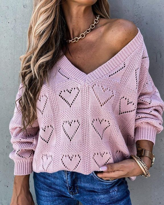 Heart Pattern Hollow Out Rib-Knit Sweater gallery 3