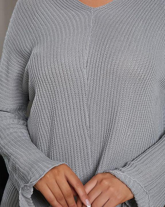 Chunky Knit V Neck Drop Shoulder Sweater gallery 5