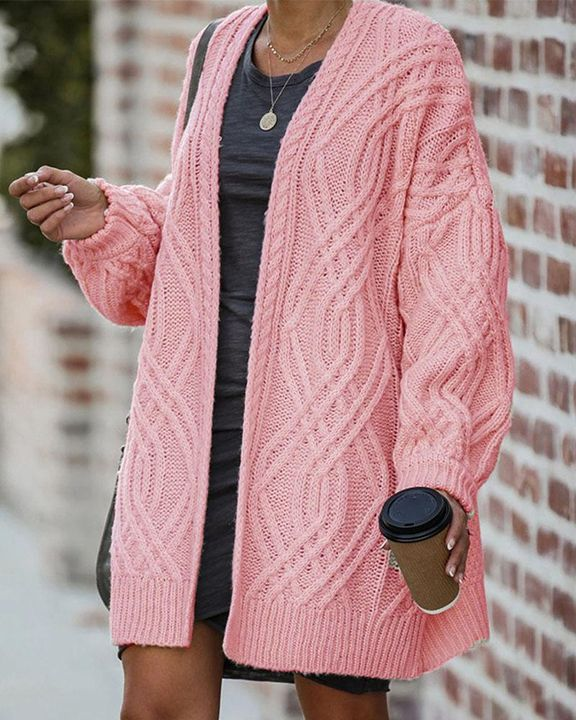 Cable Knit Open Front Drop Shoulder Cardigan gallery 2