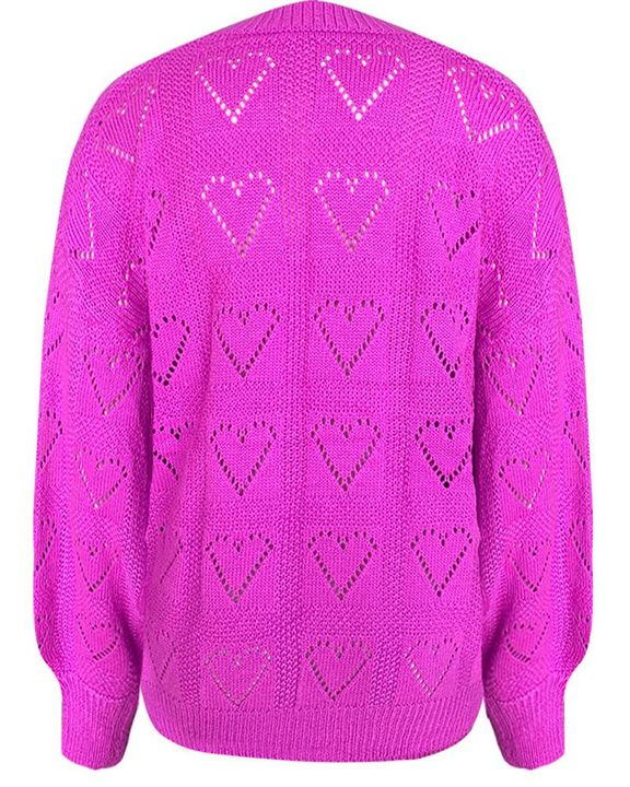 Heart Pattern Hollow Out Rib-Knit Sweater gallery 12