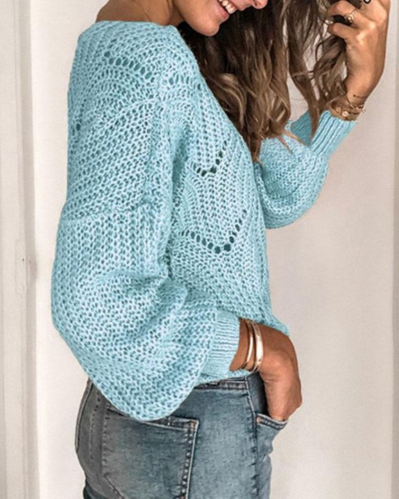 Solid Rib-Knit Hollow Out Sweater gallery 9